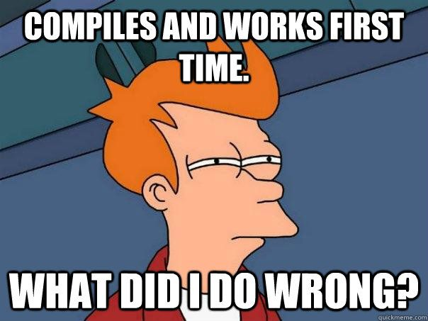 A meme showing how it is difficult to find bugs in a block of code in computer programming.