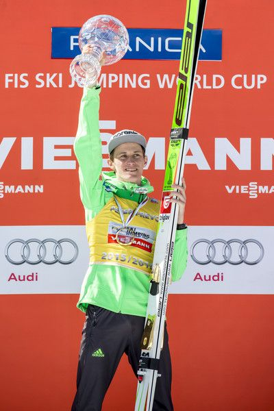 Peter Prevc Photos Photos - PLANICA, SLOVENIA - March 20:  Peter Prevc of Slovenia poses for a picture after winning the overall trophy of the Ski Jumping World cup during the victory ceremony of the FIS Ski Jumping World Cup at Planica on March 20, 2016 in Planica, Slovenia. - FIS Ski Jumping Worldcup Planica - Day 4