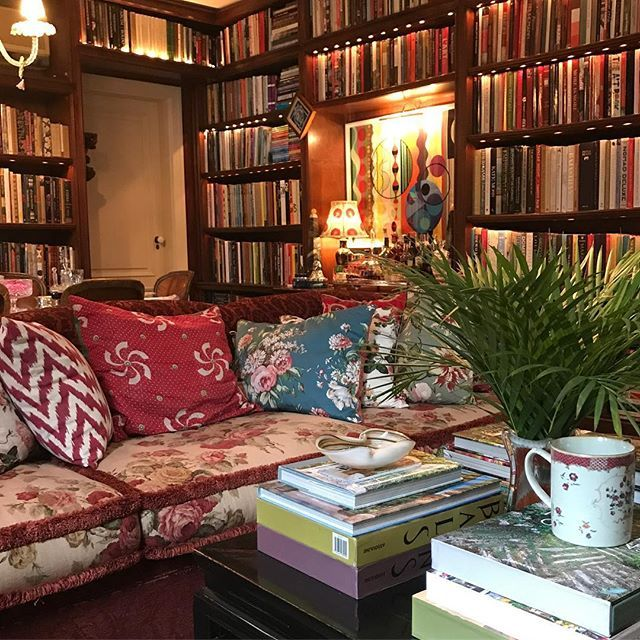 Sig Bergamin's stunning home library with lovely mix of fabrics, art and other textures.