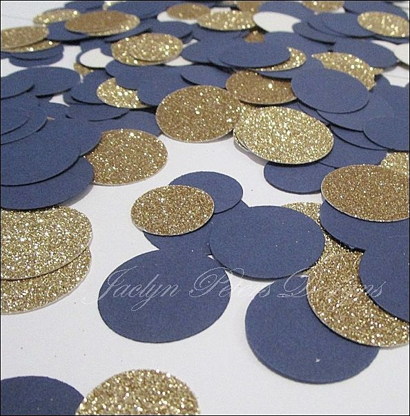 Getting these for flower girls to throw instead of flower petals- Navy Blue & Gold Party Confetti