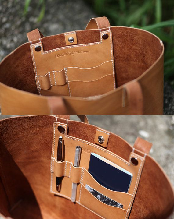 Handmade Leather Tote Bag  made to order by LoraynLeather on Etsy, $205.00