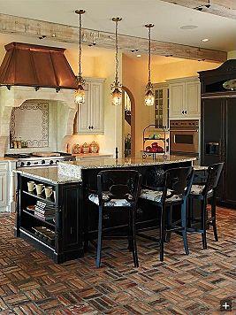 love the island :)Copper Hoods, Beautiful Rustic, Kitchens Bricks Floors, Kitchens Redesign, Islands Lights, Dreams House, Stoves Hoods, Islands Ideas, Bricks Tile Floors