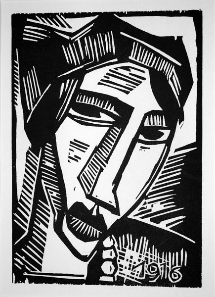 German Expressionist Woodcuts: Karl Schmidt-Rottluff, (German, 1884-1976)  Pictured:   Fraukopf / Head of a Woman, 1916 woodcut.