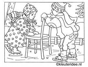 kleurplaat kinderen schaatsen in de winter, kleuteridee.nl .
