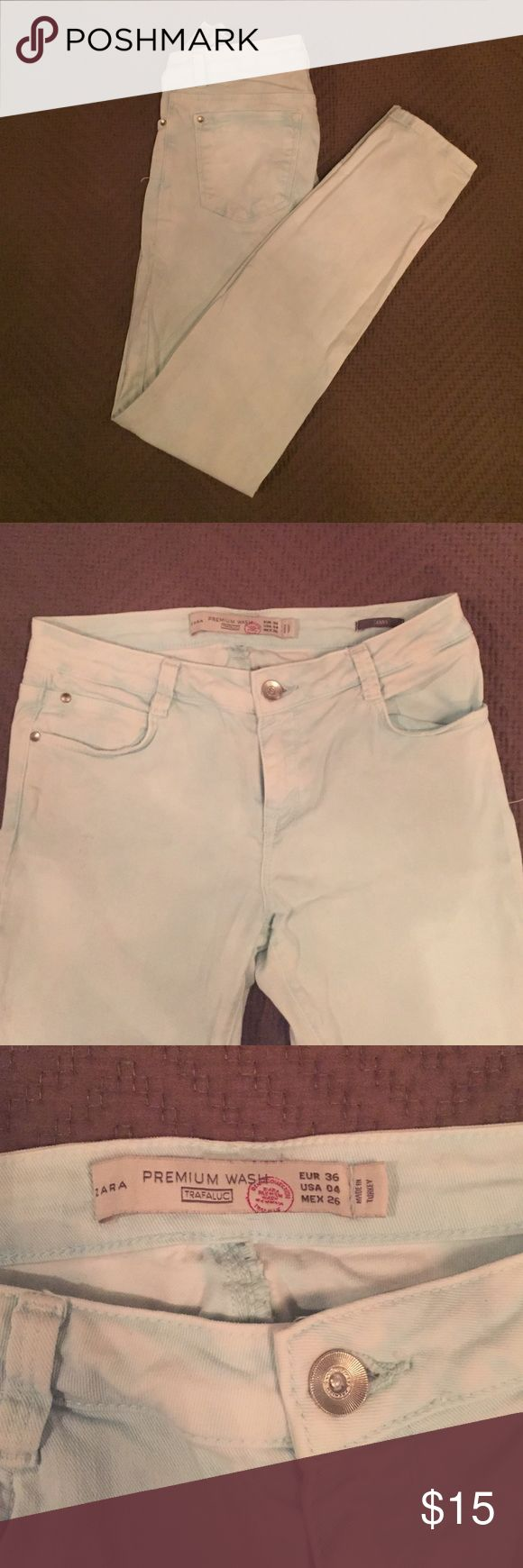 ZARA Light blue Skinny Jeans ZARA Light blue distressed Skinny Jeans. No flaws but has distressed markings on front and back. I am 5'8 and they hit me at the ankle. Zara Jeans Skinny