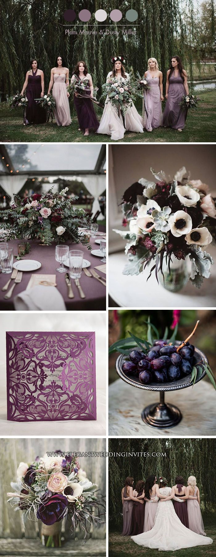 Plum and Mauve Shades of Purple Moody Fall Wedding Color Palette