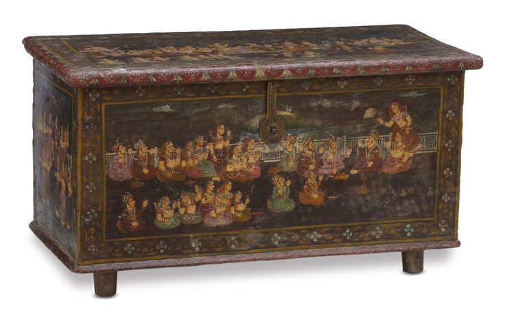 he art of hand painted furniture is relatively new to Rajasthan. It emerged as a result of the demands of the burgeoning and profitable export and urban domestic market. Amongst the many products fashioned are chests and boxes such as this example. Their painted surfaces evoke not the style of a particular #Rajput miniature tradition but a hyrbidised amalgam of many. #Jodhpur #Rajasthan, #20thCentury