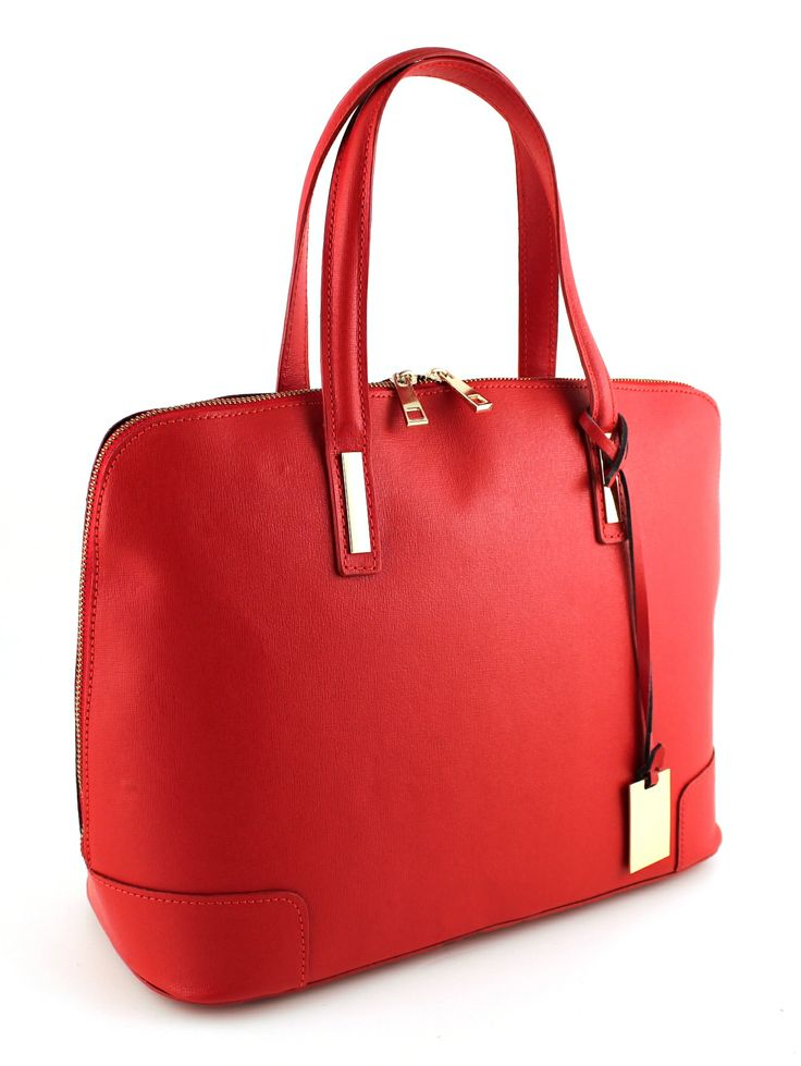 Carrara Rosso. Red leather combined with metal in gold color.