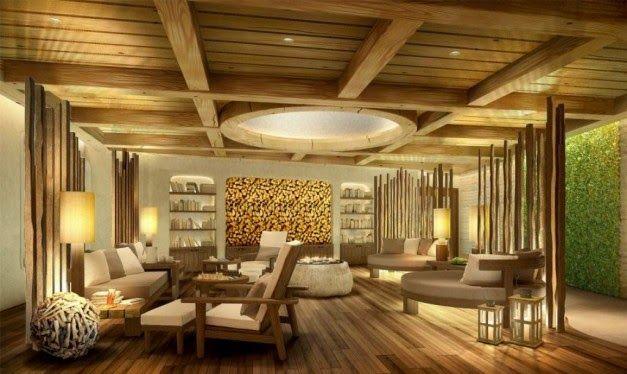 Desain Rumah Klasik Berplafon Balok Kayu