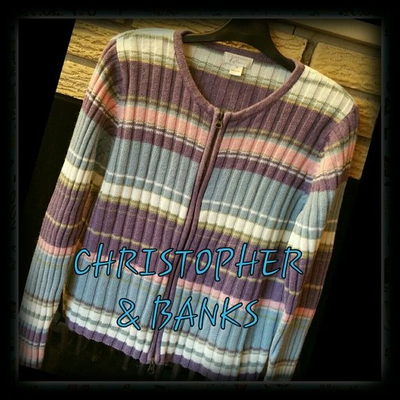 *CHRISTOPHER & BANKS MULTI COLOR SWEATER Beautiful multi color cardigan sweater.  Zip up front. Christopher & Banks Sweaters Cardigans