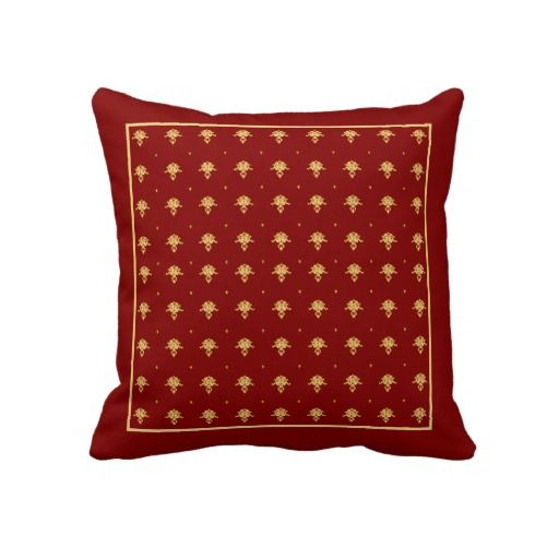 Antique Gold Decorative Pillows : Luxury Red and Gold Vintage Damask Pattern Throw Pillow Vintage, Antiques and Gold throw pillows