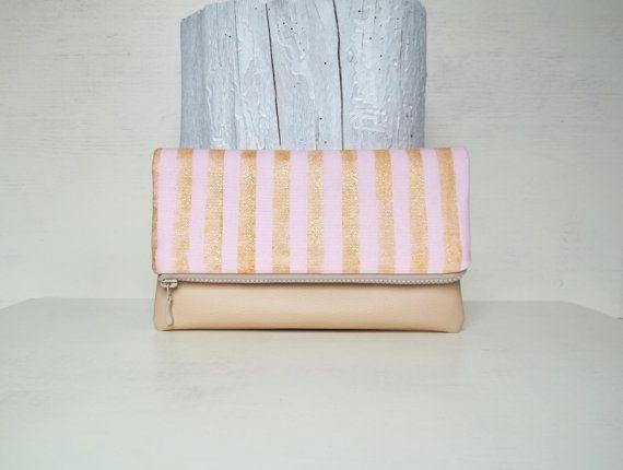 Gold Stripes Clutch Bag Pink Leather Clutch Bag Clutch Purse Fold-over clutch Geometric Women gift