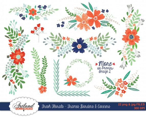 Add some handmade love to your digital and printable work with these lovely and warm coral, navy, and mint floral borders, frames, and corners.