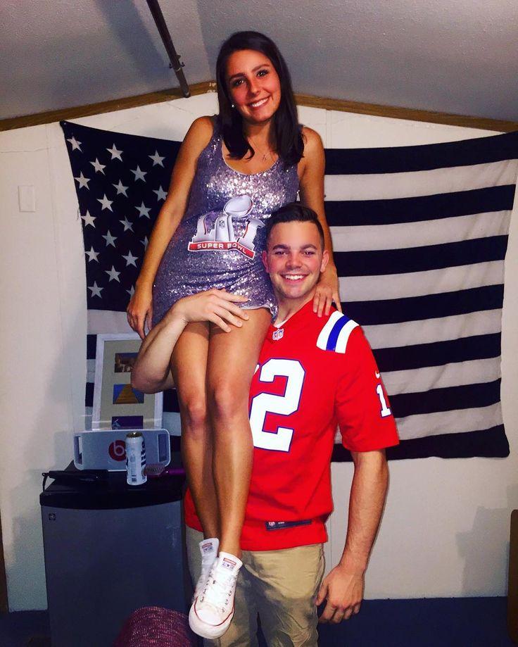 Tom Brady & Superbowl Trophy Halloween Costume, College, Couple