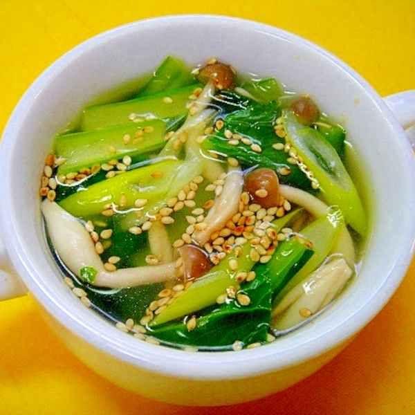 小松菜としめじ長ネギの中華ごまスープ