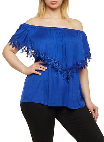Plus Size Off the Shoulder Top with Lace Trim