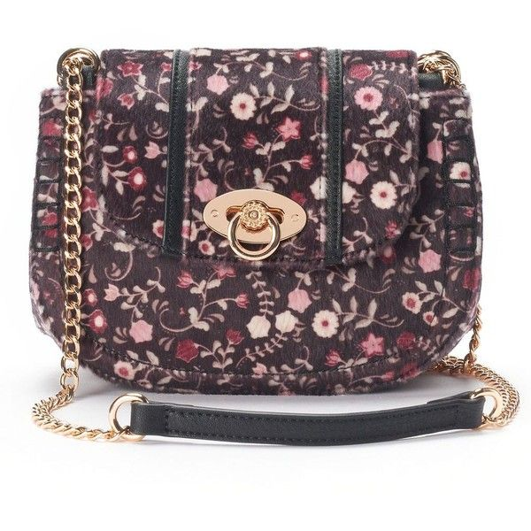 LC Lauren Conrad Macaron Floral Saddle Bag ($37) ❤ liked on Polyvore featuring bags and handbags