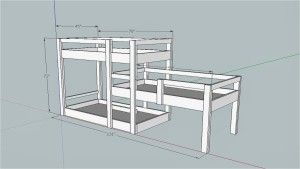 Receive both the Triple Bunk Bed Plan and SketchUp file. Upon verification of payment the plan in PDF format and the sketchup file of the triple bunk bed plan will be sent by email.