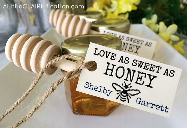 Honey Jar Wedding Favors and free printable labels for the bride to be