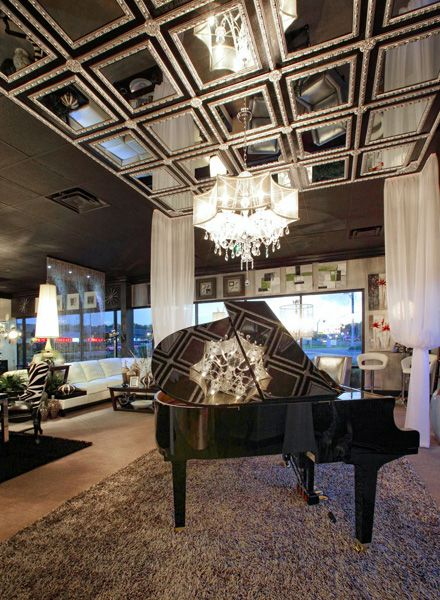 custom framed mirror ceiling design luxe gallery showroom