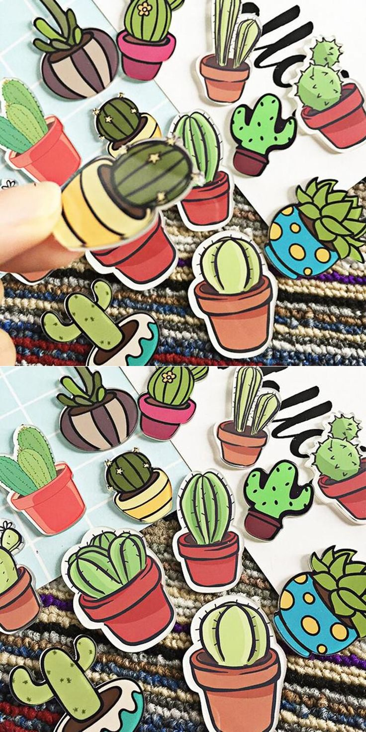 [Visit to Buy] 1 PC Cartoon Cactus Bonsai Brooch Acrylic Badges Icons on The Backpack Pin Badge Decoration Badges for Clothing #Advertisement