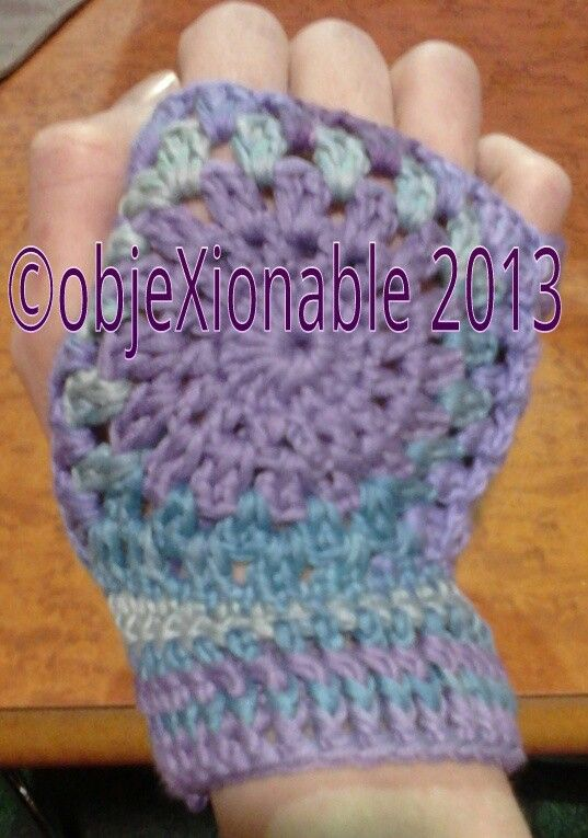 Lilac and purple multi granny circle/square fingerless mittens/wristies