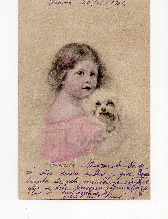 Lovely Little Girl with Maltese dog
