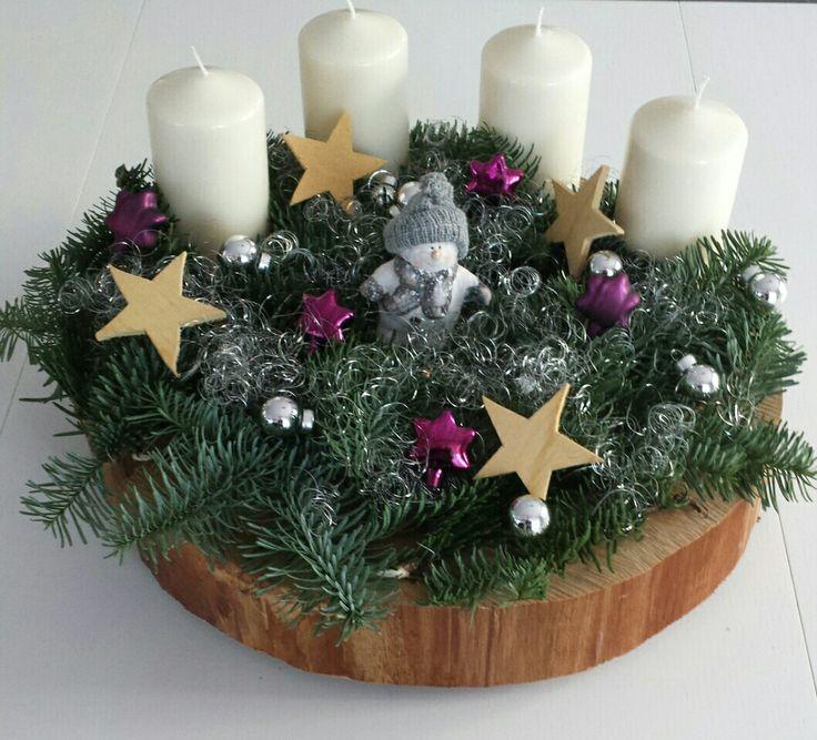 adventsscheibe adventskranz auf holzscheibe christmas. Black Bedroom Furniture Sets. Home Design Ideas