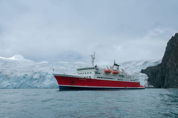 Ship on elephant island, antarctica