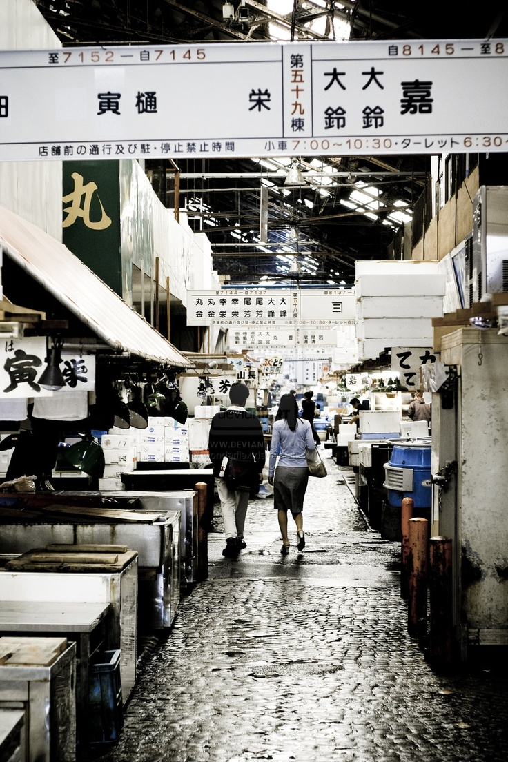 Tsukiji fish market in Tokyo Japan after hours and before cleaning - available for sale as a print.