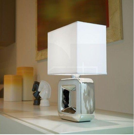 Επιτραπέζιο φωτιστικό - πορτατίφ - λαμπατέρ μονόφωτο, σε μοντέρνο στυλ, με κεραμική βάση σε χρώμιο και καπέλο υφασμάτινο λευκό. Tempio 1 από την Eglo. -------------------------------- Table lamp, in modern style, with ceramic base in chrome color and fabric white hat. #tablelamp #tablelight #table #tablesetting #tabledecor #homedecor #home #lightingdesign #chrome #lightingideas