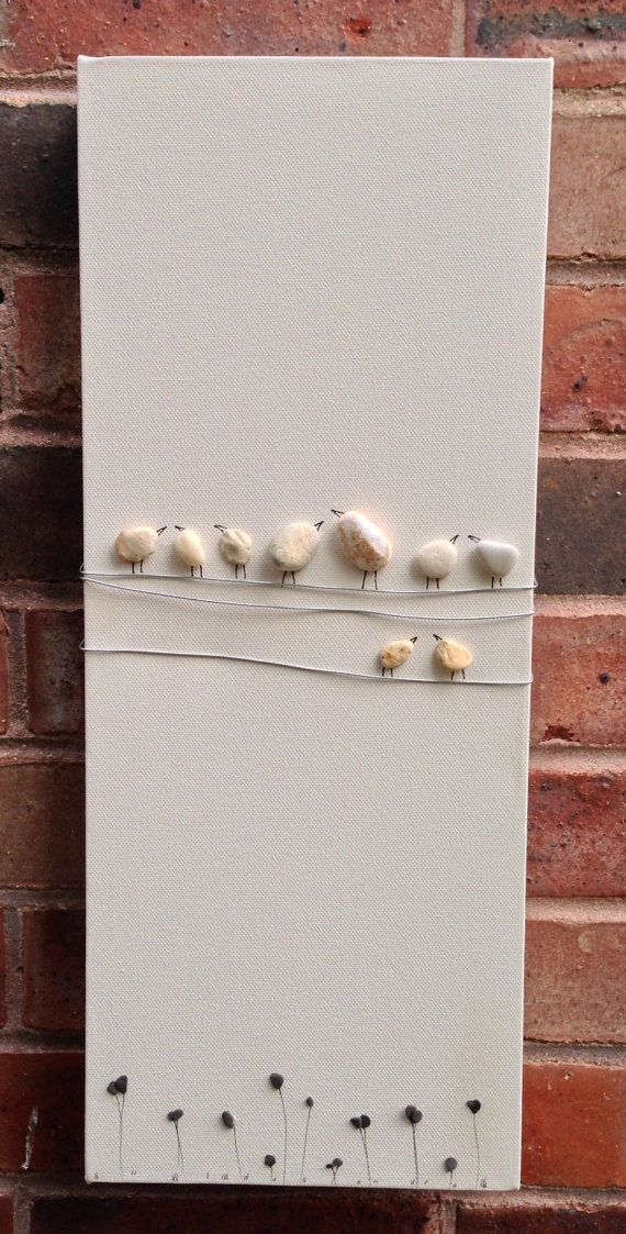 Pebble art , birds on a wire , portrait , natural stone art.