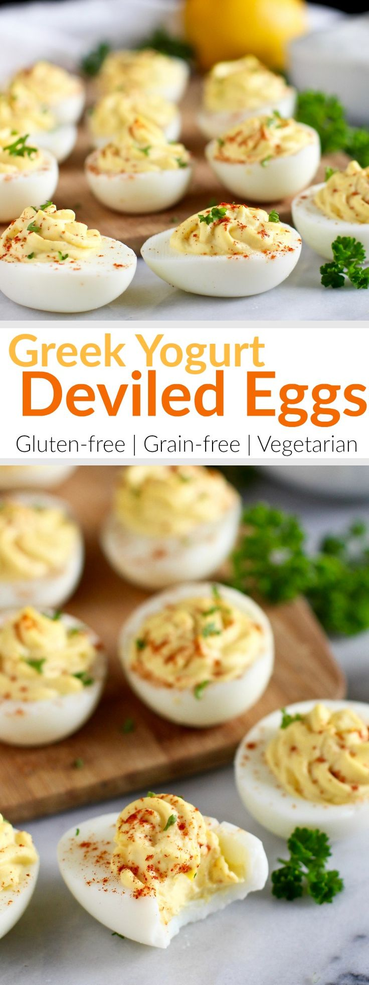 Tangy and thick Greek yogurt takes the place of mayo in our Greek Yogurt Deviled Eggs which consists of just 5 simple ingredients. | Gluten-free | Vegetarian | http://therealfoodrds.com/greek-yogurt-deviled-eggs/