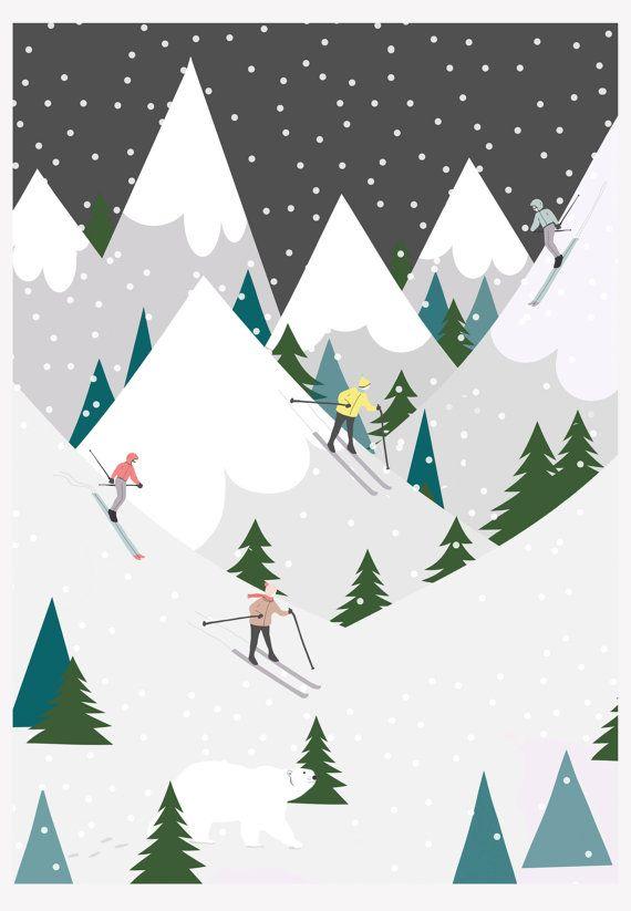 Une scène de ski nordique de charme, magnifiquement illustré et imprimé numériquement sur du papier de qualité 300 g/m².  Mettant en vedette le skieur et quelques ours polaires. Parfait pour un cadeau de Noël unique pour les enfants et les adultes!  Impression a3.