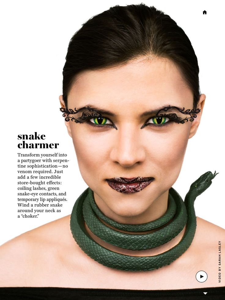 Snake charmer make up----Martha Stewart magazine: I'm LOVING the lip appliques! This would be a perfect Medusa look