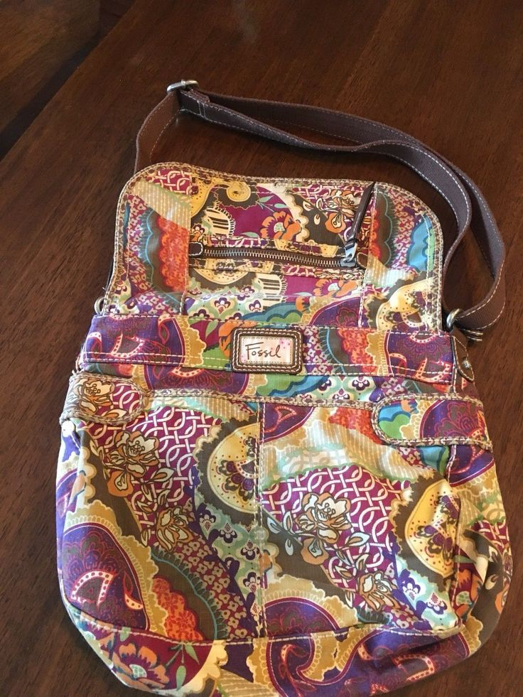 FOSSIL Vintage Style Messenger Brown Purse Leather Accents Paisley Floral 150 | eBay