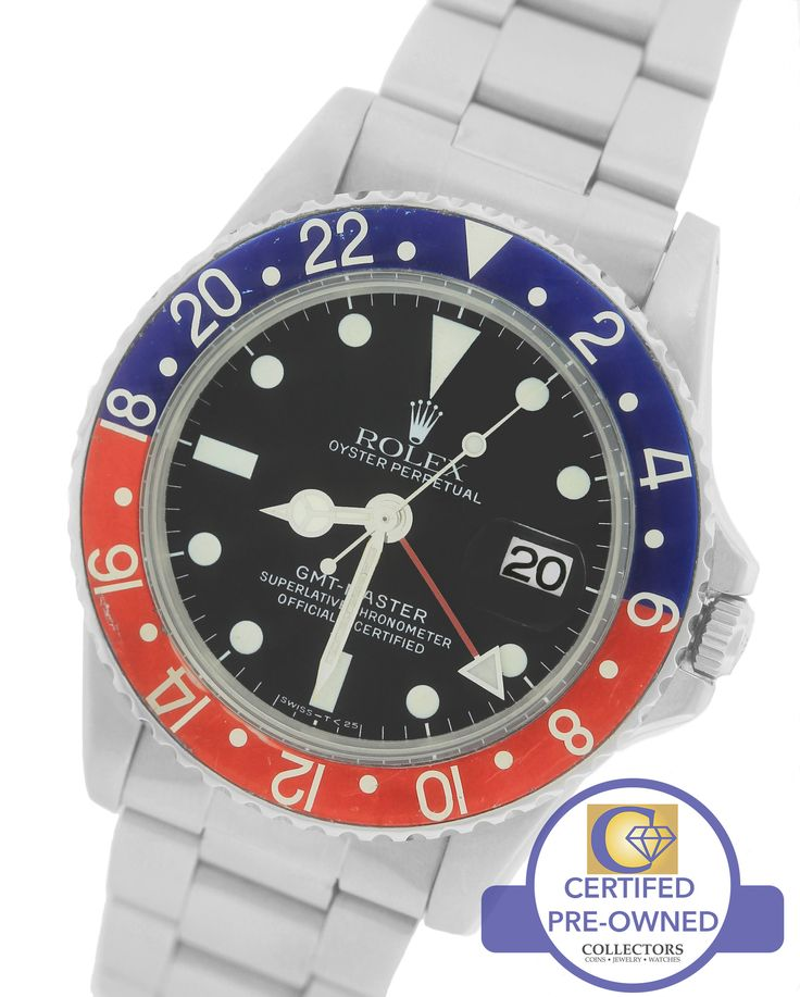 Vintage 1966 Rolex GMT-Master 1675 Mark IV 4 Pepsi Blue Red Stainless 40mm Watch