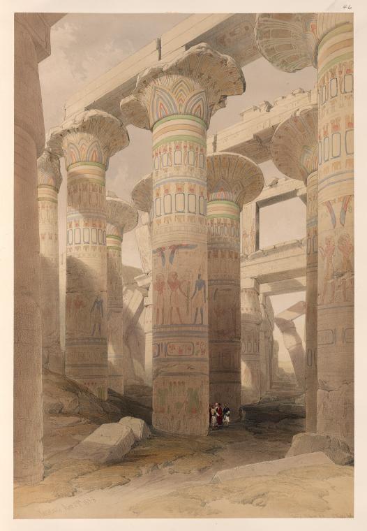 Karnac [Karnak]. Nov. 29th, 1838.  [Oblique view of the hall of columns, Karnak.]  by David Roberts