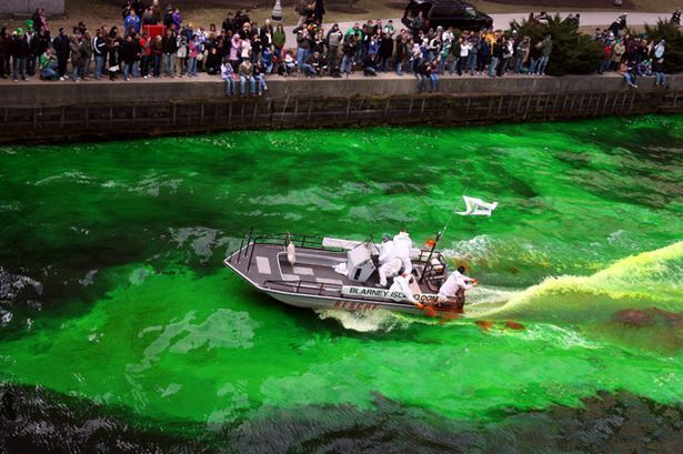 "Not a confluence, but still unmixed color shown here in ""Green is the colour: Landmarks lit up to celebrate St Patrick's Day [2012]"" -- Shown: ""America: Workers spread an orange powder to dye the Chicago River green before the start of St. Patrick's Day Parade"""