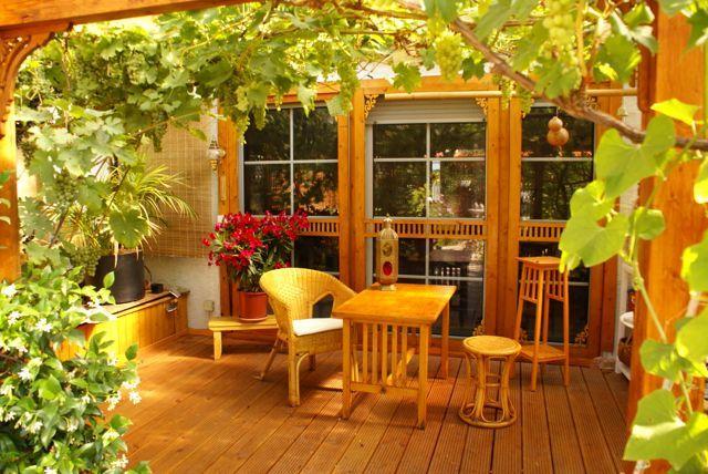 Terrassen-Schiebetür – terrace sliding door with victorian corner brackets