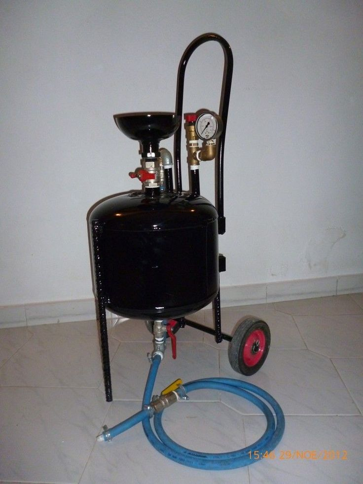 Sandblaster by The FluxPlux -- Homemade sandblaster adapted from a surplus water heater tank. Equipped with a pressure gauge and a pressure relief valve. http://www.homemadetools.net/homemade-sandblaster-2