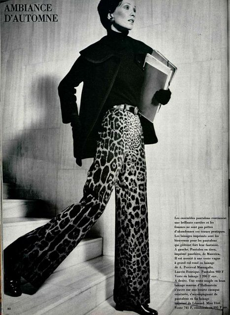 leopard print 1970s, leopard print for fall winter, stampe animalier, leopard printed trousers, pantaloni leopardo,