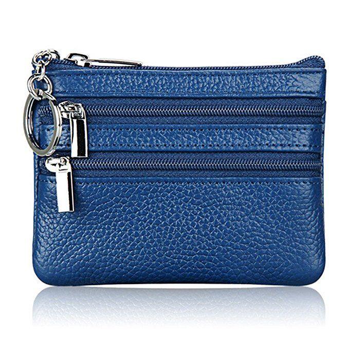 Женщины в Натуральная кожа портмоне Чехол кошелек с брелок (синий)