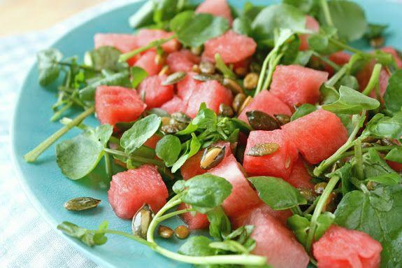 Lepeltje Liefde: Zomersalade van watermeloen, waterkers en zoute pepita's