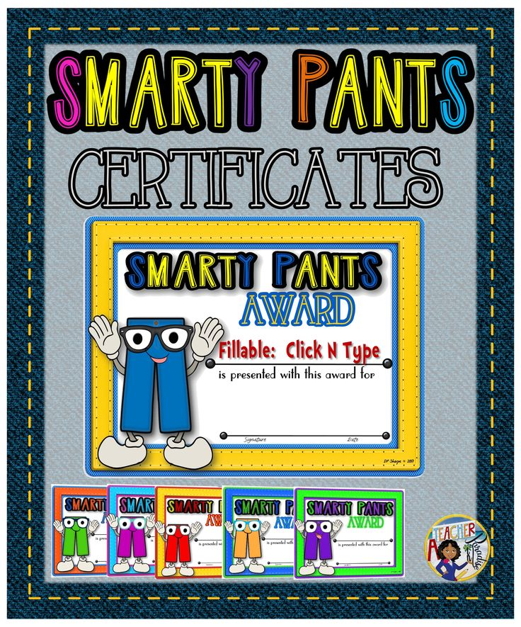 A set of fun Smarty Pants versatile awards for recognizing your students who may have performed a task or activity that is to be commended and recognized