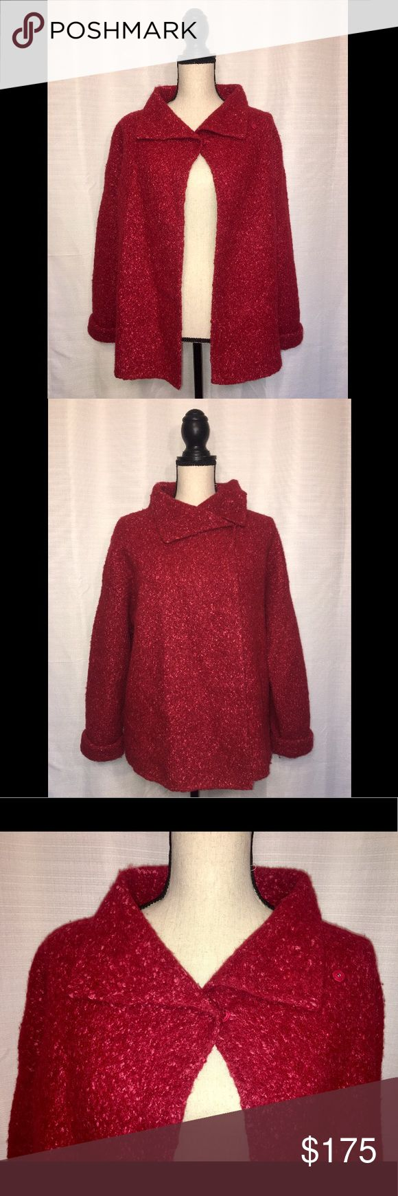 """$480 Eileen Fisher Red Pea Coat Large $480 Eileen Fisher Red Pea Coat in Size Large Petite. In Excellent Condition with NO signs of wear. Freshly dry cleaned! Approx measurements: Length: 25"""", Sleeve Length from shoulder seam: 21.5"""", Sleeve length from actual shoulder: 26"""". Photos are part of description. Feel free to ask questions. Thank you 😊 Eileen Fisher Jackets & Coats Pea Coats"""