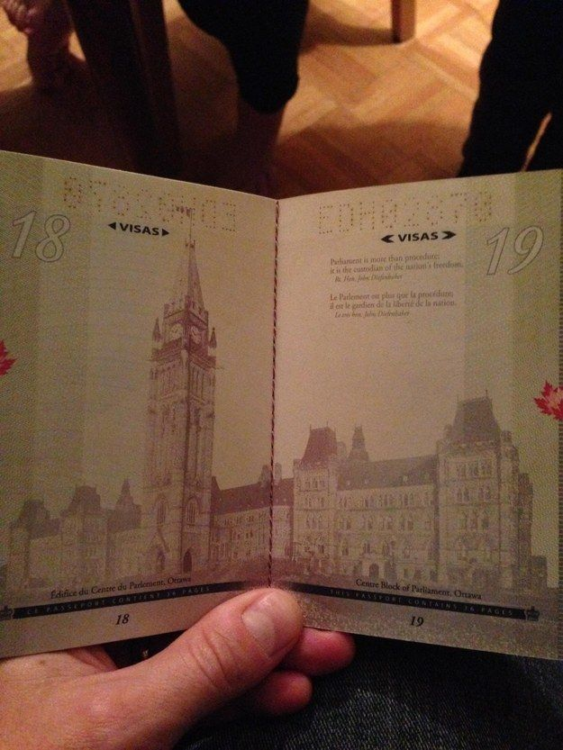 Here's the newest version of the Canadian passport—under normal light: | If You Didn't Know, The Canadian Passport Under Black Light Is A