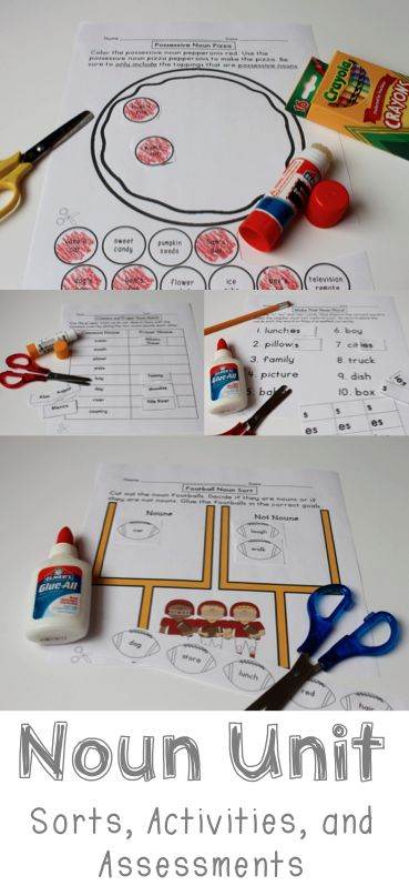 Noun Unit Activities and Quizzes - Includes common, proper, singular, plural, possessive, abstract, and collective nouns!