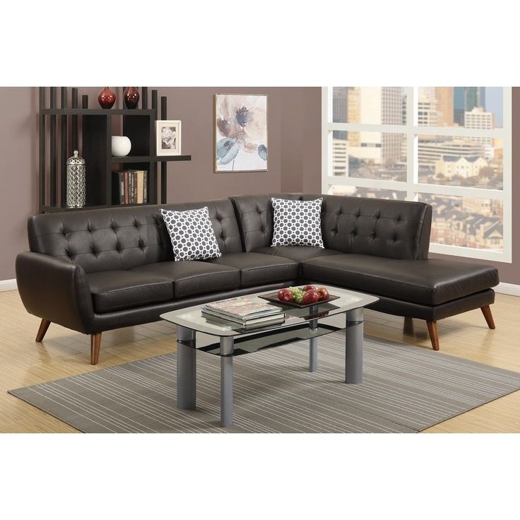Poundex Agarak Sectional Sofa Upholstered in Espresso