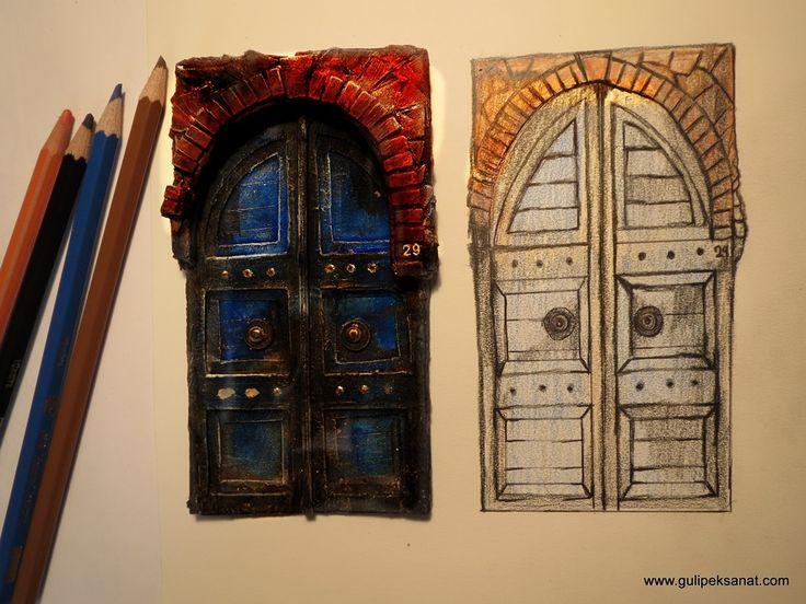 The Old World Door Collection/Miniature /Paper   ONLY PAPER AND ACRYLIC PAİNT  Çalınan her kapı hemen açılsaydı,ümidin,sabrın ve isteğin derecesi anlaşılmazdı. (Mevlana) Miniature blue door /scale 1:16 Meterial : paper ,paperboard,acrylic paint,glue..  Kağıttan yaptığım ferforje yi siyah boya ile boyadım mat boya elde etmek için herhangi siyah bir akrilik boyaya bebe pudrası…